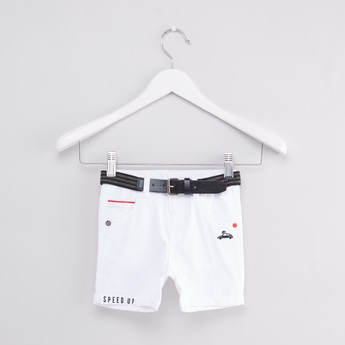 Embroidered Shorts with Button Closure and Belt
