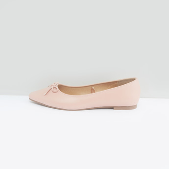 Pointed Ballerina with Bow Accent and Slip-On Closure