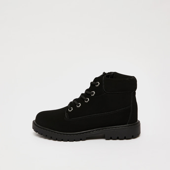 Solid High-Top Lace-Up Boots with Zip Closure