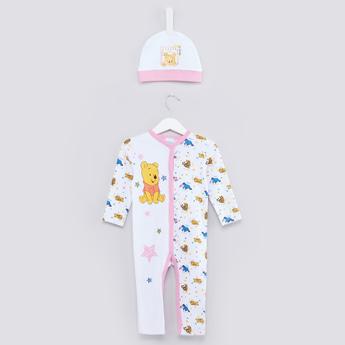 Winnie the Pooh Printed Sleepsuit and Beanie Cap