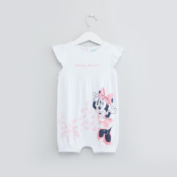 Minnie Mouse Print Romper with Hat