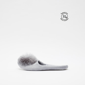 Bedroom Slippers with Pom Pom Detail