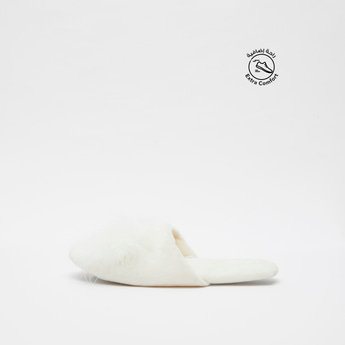 Textured Bedroom Slippers with Pom-Pom Accents