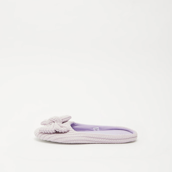 Textured Slip-On Bedroom Slippers with Bow Accent