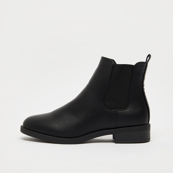 Solid Chelsea Boots with Zip Closure and Pull Tab