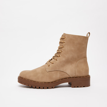 Solid Boots with Lace-Up Detail and Zip Closure