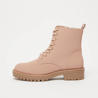 Solid Boots with Zip Closure and Pull Tab Detail