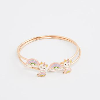 Set of 2 - Applique Detail Cuff Bracelets