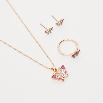 Studded Butterfly 4-Piece Jewellery Set