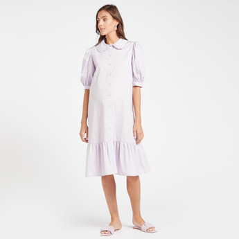 Solid Maternity Poplin Dress with Spread Collar and Puff Sleeves