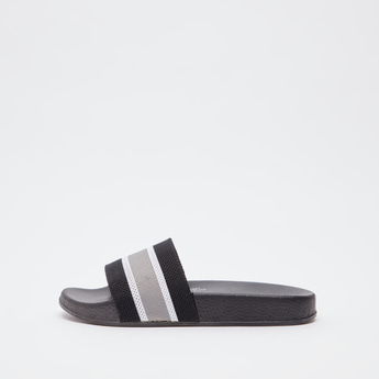 Slip On Slides with Contrast Striped Midsole Strap