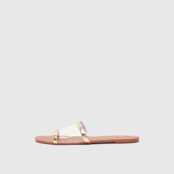 Solid Slip-On Flat Sandals with Transparent Vamp