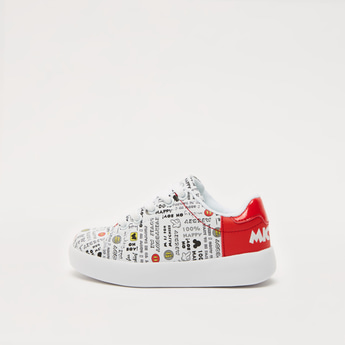 Mickey Mouse Print Lace-Up Sneakers