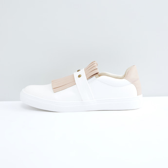Studded Slip-On Shoes with Elasticised Gussets and Fringe Detail
