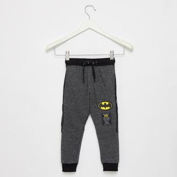 Full Length Batman Textured Jog Pants with Drawstring Closure