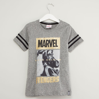Captain America Print T-shirt with Round Neck and Short Sleeves