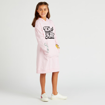 Tom and Jerry Print Long Sleeves Sweat Dress with Hooded Neck