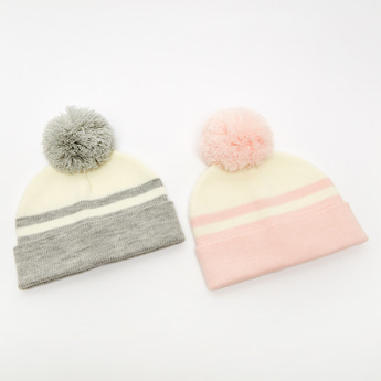 Set of 2 - Textured Beanie Cap with Pom Pom Detail