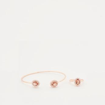 Embellished Open Cuff Bracelet and Finger Ring