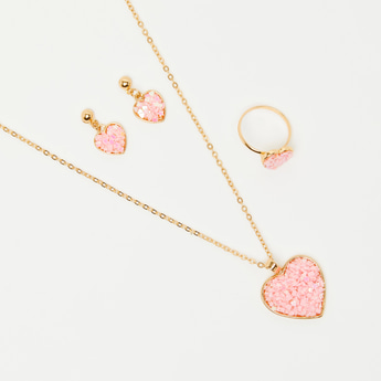 Gold Finish Embellished Long Necklace with Ring and Earrings Set