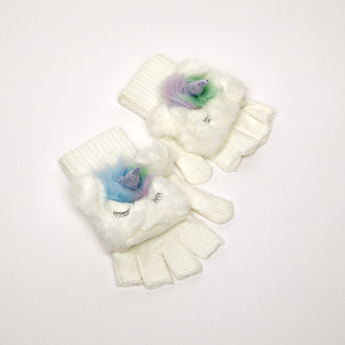 Unicorn Applique Detail Gloves with Cuffed Hem