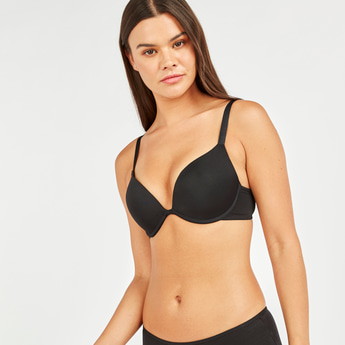Push-Up Bra with Adjustable Straps and Hook and Eye Closure