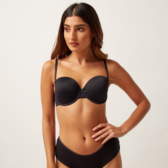 Bow Detail Padded Balconette Bra with Hook and Eye Closure