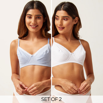 Set of 2 - Assorted Bra with Lace Trim and Adjustable Straps