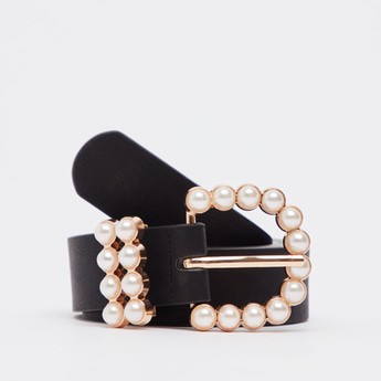 Textured Belt with Pearl Embellishments