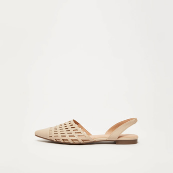 Textured Slip-On Mules with Elasticised Strap