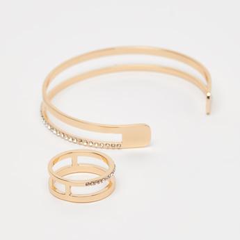 Embellished Bracelet and Finger Ring Set