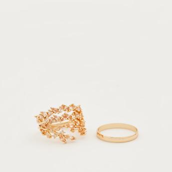 Set of 4 - Embellished Finger Rings