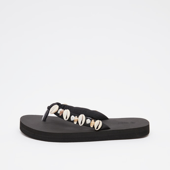 Textured Flip Flops with Applique Detail Straps