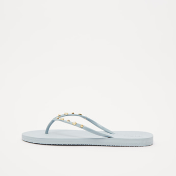 Textured Flip Flops with Embellished Applique Detail Straps