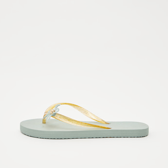 Textured Flip Flops with Flower Applique Detail Straps