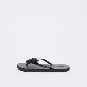 Textured Flip Flops with Applique Detail