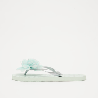 Textured Beach Slippers with Floral Accent