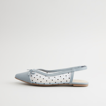 Textured Sling Back Ballerina with Bow Applique