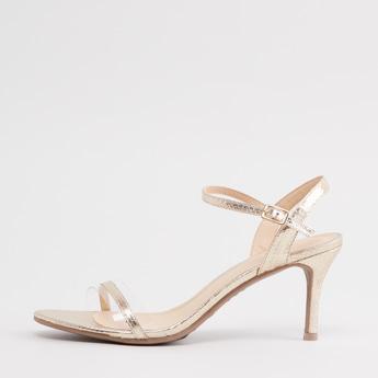 حذاء ستليتو بارز الملمس بحزام حول الكاحل وإبزيم إغلاق بدبوس