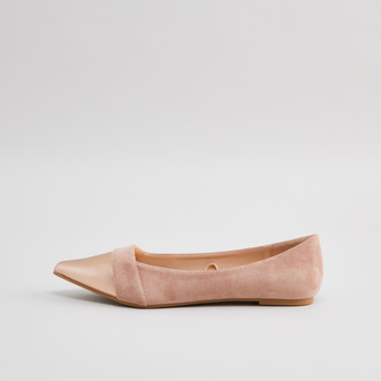 Textured Slip-On Ballerina with Stacked Heels