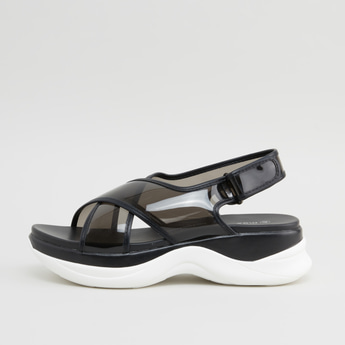 Transparent Cross Strap Sandals with Hook and Loop Closure