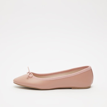 Solid Ballerina Shoes with Bow Applique