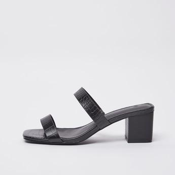 Textured Sandals with Block Heels