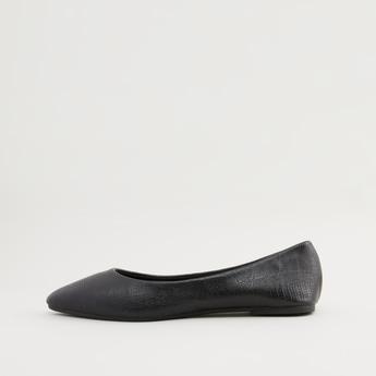 Textured Ballerinas with Stacked Heels
