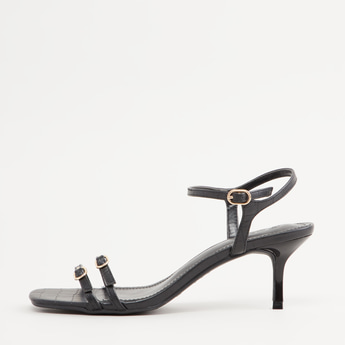 Textured Heels with Pin Buckle Closure
