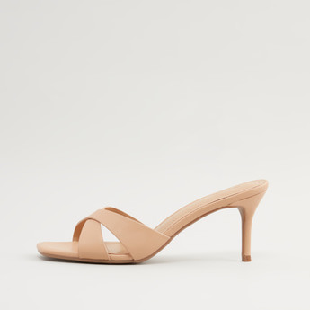 Cross Strap Pencil Heels with Slip-On Styling