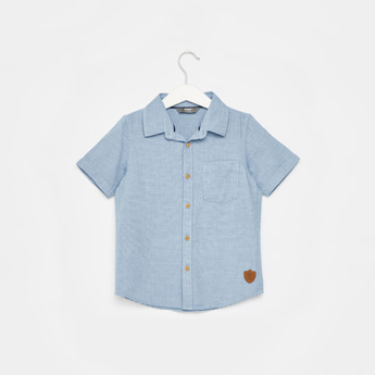 Textured Short Sleeves Shirt with Applique Detail and Patch Pocket