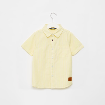 Striped Shirt with Short Sleeves and Button Closure