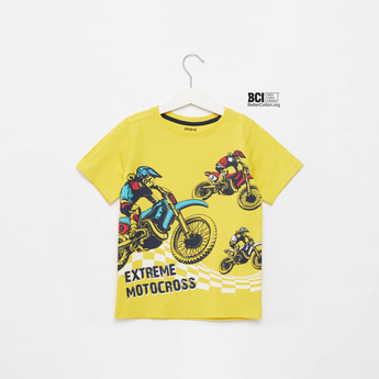 Motocross Print Round Neck T-shirt with Short Sleeves