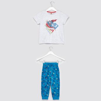 Superman Print Round Neck T-shirt with Full Length Pyjama Pants